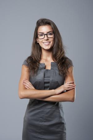 Mooie vrouw is klaar voor het werk Stockfoto