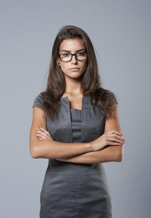 세련된 드레스 심각한 비즈니스 여자 스톡 콘텐츠