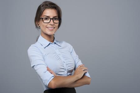 Portret van mooie jonge zakenvrouw Stockfoto
