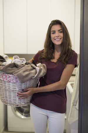 dutiful: She just has done her laundry Stock Photo
