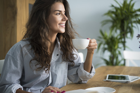 early morning: Beautiful woman and beautiful morning Stock Photo