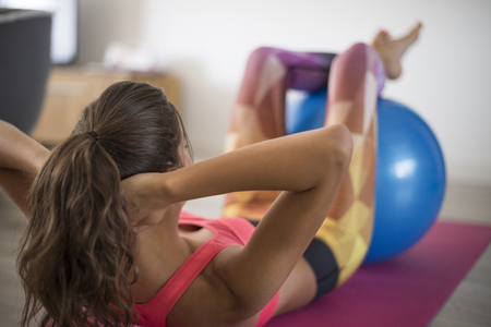 exercise equipment: Workout at home can be also productive Stock Photo