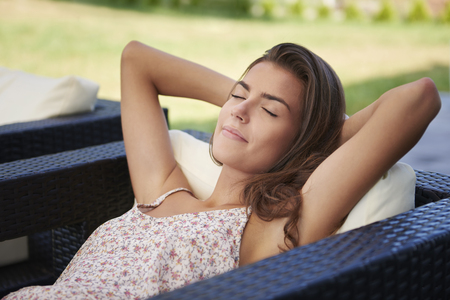 long day: Relaxation in the garden after such a long day Stock Photo