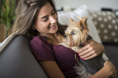 puppy love: Mujer que abraza a su peque�o cachorro Foto de archivo