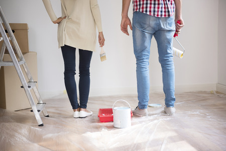 painting and decorating: It is time to start this renovation Stock Photo