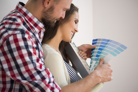 home decorating: Its not easy to make decision about the color Stock Photo