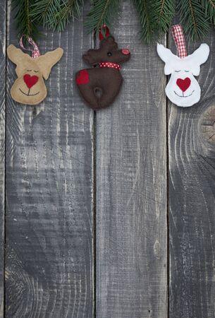 wood craft: Christmas craft decoration on old wood Stock Photo