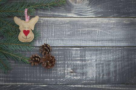 renna: Renne di Natale su tavole di legno Archivio Fotografico