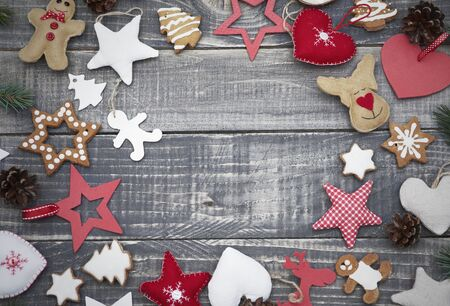 christmas party: Abundance of cute christmas ornaments Stock Photo