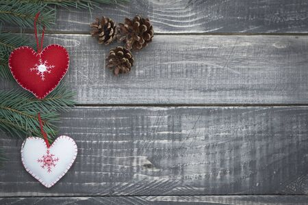 christmas decoration: Christmas time on wooden planks