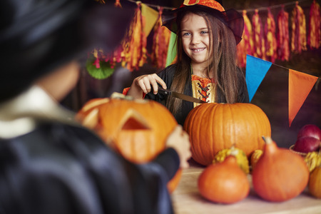 carvings: Carving a pumpkin is a typical American culture