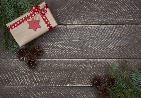 table decoration: Christmas decoration on an old wooden plank