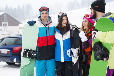 adventure: Snowboarders Stock Photo