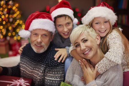 family portrait: Portrait of cheerful family during Christmas