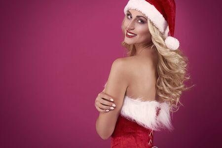 femmes nues sexy: Sexy Santa en studio Banque d'images