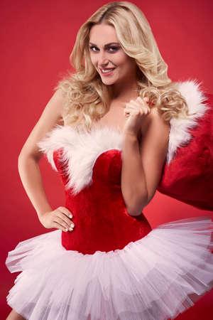 sexy santa: Sexy Santa in studio Stock Photo