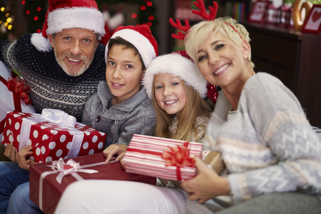 this: This is the best Christmas in their lives Stock Photo