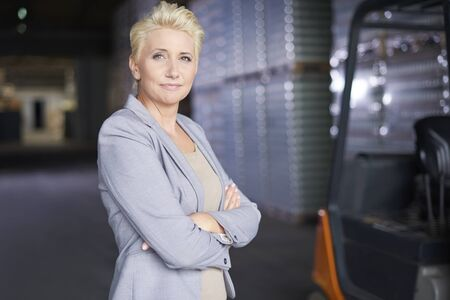 mature woman: I like my work so much Stock Photo