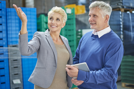 our company: Just look! Our company has great organization Stock Photo
