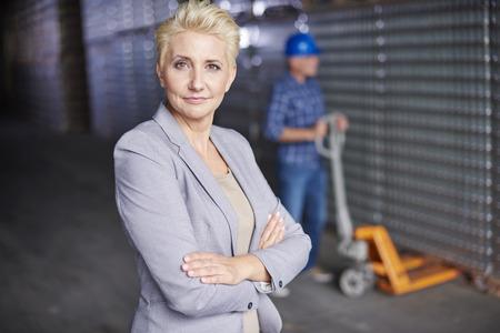 edificio industrial: Professional manager at the warehouse Foto de archivo