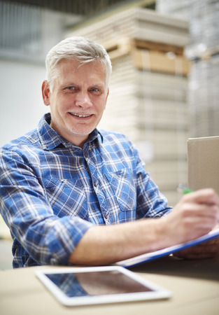 He is proud form this work Stock Photo