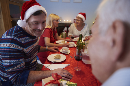 christmas meal: Christmas evening with all family