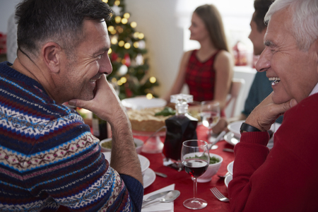 christmas meal: Man talk between father and his son