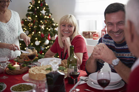 christmas meal: Everyone is in good mood that day Stock Photo