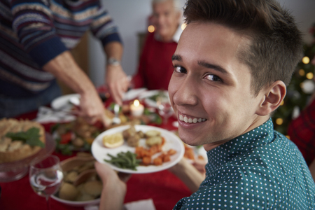christmas meal: Dinner in christmas time with family Stock Photo