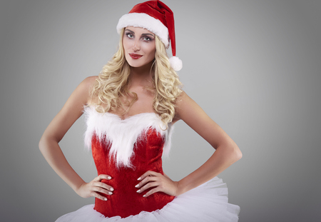 sexy santa: Sexy santa on grey background