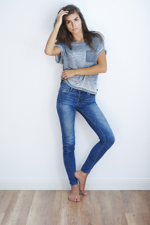casual fashion: Woman wearing some casual clothes Stock Photo