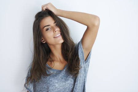 models posing: Portrait of smiling attractive woman