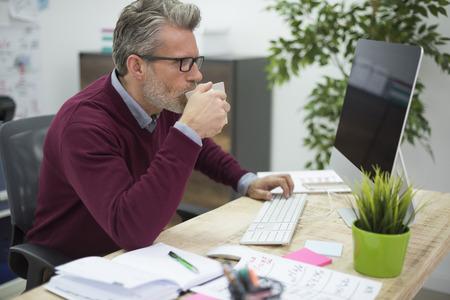 sip: Sip of hot coffee helps at work