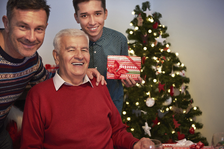 senior man: Grandfather, son and grandson on one photography Stock Photo