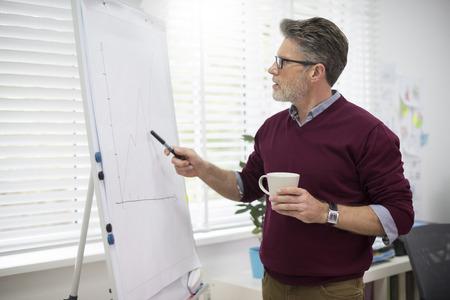 hardworking: Hardworking man next to the white board