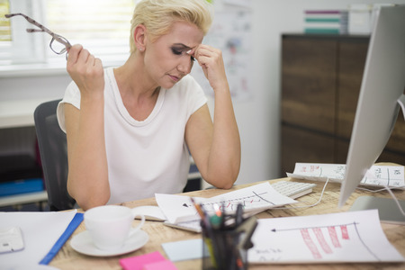 hard work: Strong headache because of hard work Stock Photo