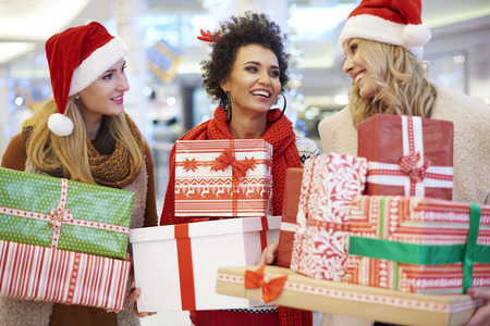 christmas shopping bag: Shopping mall as a good place for Christmas shopping Stock Photo