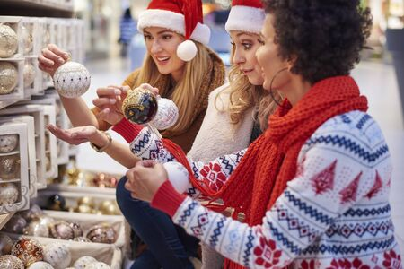 admiration: Great admiration over Christmas decorations Stock Photo
