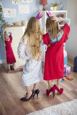 dress up: Little girls pretending to be a star