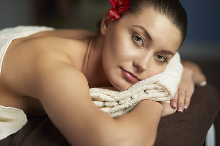 necked woman: Beautiful woman during the relaxing in spa Stock Photo
