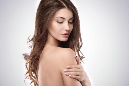 beautiful nude woman: Side view of beautiful natural woman Stock Photo