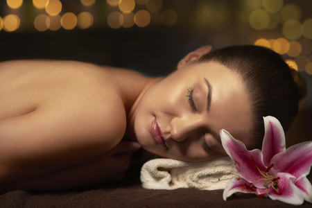 long day: Relaxing in spa after long day Stock Photo