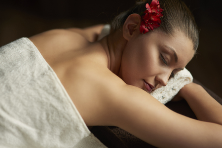necked woman: Beautiful woman relaxing at the spa Stock Photo
