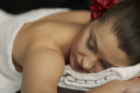necked woman: Take care about body at spa