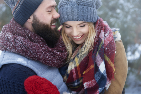couple winter: Happy couple in winter day
