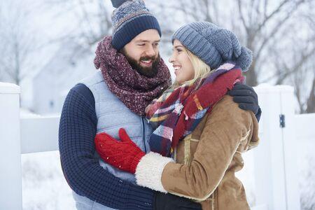 couple winter: Winter date of happy couple Stock Photo