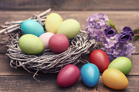 easter eggs: Handmade Easter eggs in the nest