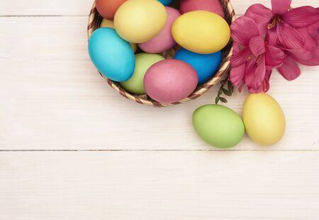 white eggs: Easter eggs in the wicker basket