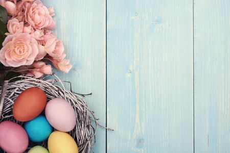 easter and egg: Colorful Easter eggs in the nest