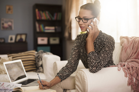 home business: Businesswoman and small business at home Stock Photo